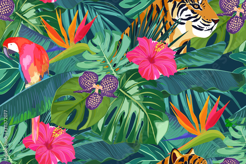 fototapeta na szkło Summer seamless pattern with tropical palm leaves, flowers, parrot and tiger. Jungle fashion print. Hawaiian background. Vector illustration