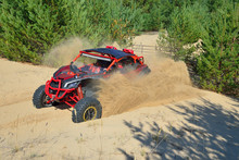 ATV And UTV Adventure. Buggy Extreme Riding In The Sand Dunes
