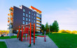 Apartment residential house facade architecture with child playground reflex
