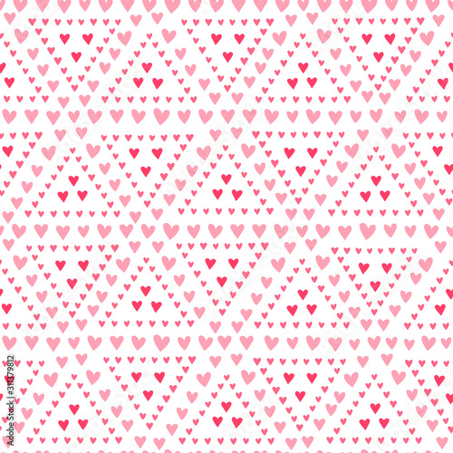 Photo Hand drawn geometric hearts seamless pattern, valentine's day backdrop with cute