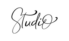 Studio Calligraphy Hand Drawn Vector Logo Text And Label For Any Use, On A White Background. Just Place Your Own Brand Name