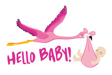 Hello Baby - Baby Shower Illustration With Flamingo Stork. Typography Illustration For New Borns.  Good For Scrap Booking, Posters, Greeting Cards, Banners, Textiles, T-shirts, Mugs Or Other Gifts.
