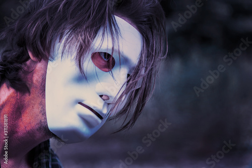 man in white mask close up Wallpaper Mural