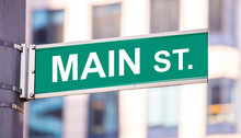 Main Street Sign, City Center Downtown, Green Color, Blur Buildings Background