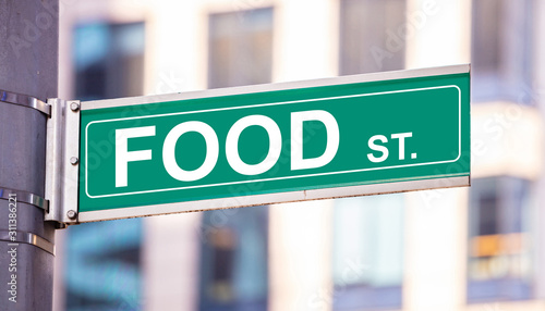 Photo  Food street sign, street food concept, blur buildings background
