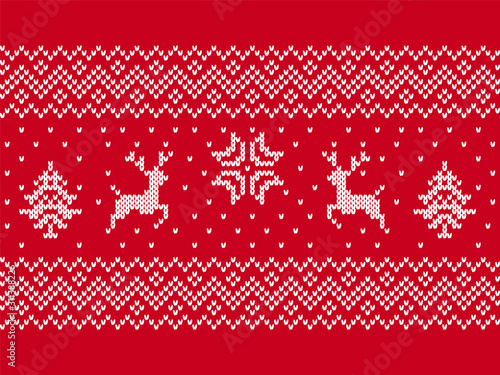 obraz PCV Christmas print. Knit seamless pattern. Vector illustration.