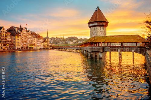 Lucerne, Switzerland, historical Old town on sunrise Tableau sur Toile