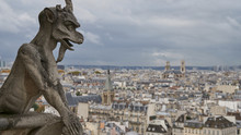 Stone Gargoyle On The Roof Of Notre Dame Cathedral In Paris, France. Overcast Weather.