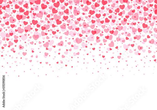 Fototapeta Hearts background, Valentine Day falling heart pink confetti obraz