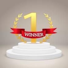 Winner Award On Victory Pedest...