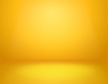 Yellow Studio Background. Empty Vivid Yellow Studio Room, Modern Workshop Interior In Perspective. Website Wallpaper Vector Mockup
