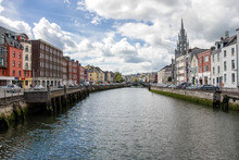 River Lee In Cork City. Ireland City Center With Various Shops, Bars And Restaurants