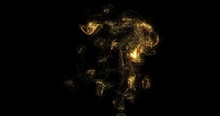 Golden Smoke, Shining Fluid Particles Light, Liquid Gold Glitter Pour On Black Background. Sparkling Gold, Glittering Shimmer Pouring And Evaporating, Magic Glow Haze With Haze Curl Swirl Effect