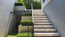 White Marble Stairs And Plant ...