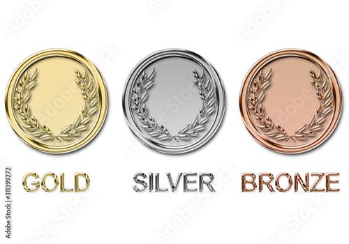 ilustración de Medallas de Oro, Plata y Bronce Poster Mural XXL