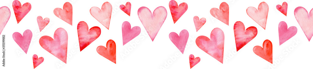 Fototapeta Seamless watercolor header with pink and red hearts on white background. Valentine's day border.