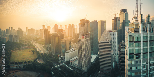 Aerial shot of Downtown Jakarta, Indonesia