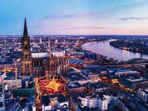 Fototapeta Cologne Germany Christmas market, aerial drone view over Cologne rhine river Germany obraz