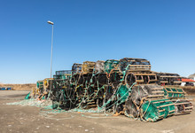 A Selection Of Lobster Pots On Land, In The Small Fishing Village Lista, Norway