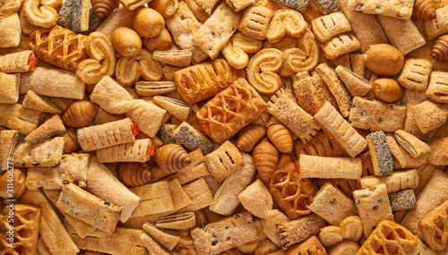 Unhealthy food concept background High resolution quality texture of pastry Top view of a variety of cookies Texture of the cookie in the studio Cookies wallpaper background Horizontal photo Canvas Print