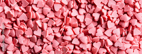 Valentine's day background, pink hearts texture, banner - 311408470