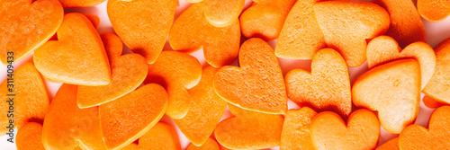 Orange hearts background, long banner. - 311409433