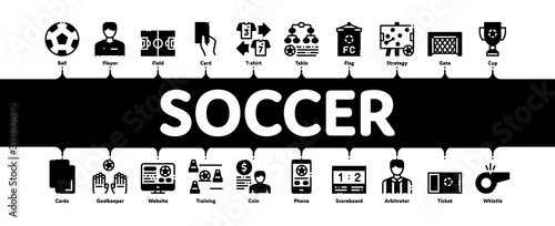 Soccer Football Game Minimal Infographic Web Banner Vector Canvas Print