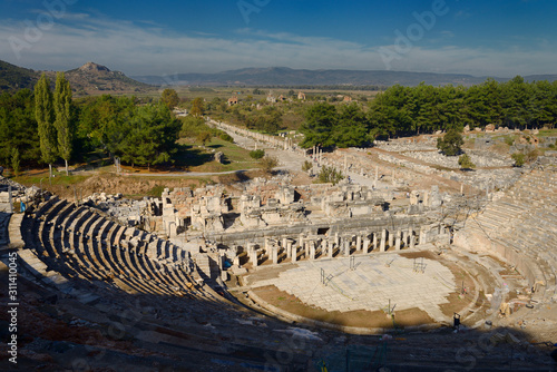 Vászonkép Ancient Ephesus theatre and gymnasium with Arcadian Way street to the now silted