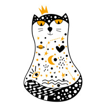 Hand Drawn Princess Cat With The Image Of The Cosmos. Cosmic Constellation Of Galaxies, Planets, Stars, Hearts, Eyes.