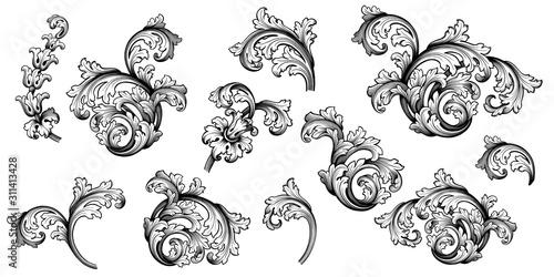 Vintage Baroque Victorian frame border flower pattern vector floral engraved scroll ornament leaf retro decorative design tattoo black and white filigree calligraphic heraldic shield swirl - 311413428