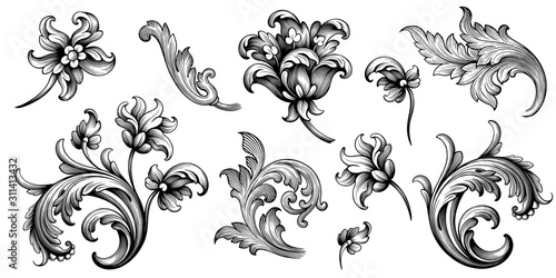Flower vintage Baroque scroll Victorian frame border floral ornament leaf engraved retro pattern rose peony decorative design tattoo black and white filigree calligraphic vector - 311413432