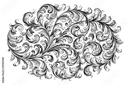 Fototapeta Vintage Baroque Victorian frame border flower pattern vector floral engraved scroll ornament leaf retro decorative design tattoo black and white filigree calligraphic heraldic shield swirl obraz