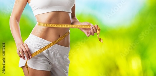 Fotografía  Fitness woman weight loss, slim body, healthy lifestyle concept