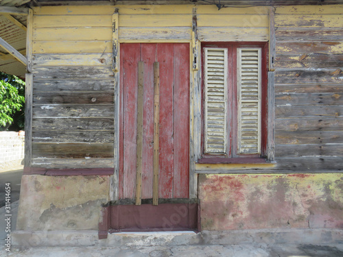 Typical colorful house in Martinique, French West Indies Wallpaper Mural