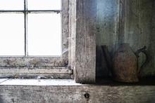 Dirty Old Windowsill In Farmho...