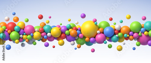 Fényképezés Multicolored flying balls of different sizes vector background