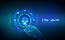 Labor Law, Lawyer, Attorney At Law, Legal Advice Concept On Virtual Screen. Internet Law And Cyberlaw As Digital Legal Services Or Online Lawyer Advice. Robotic Hand Touching Digital Interface. Vector