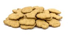Crispy Animal Shaped Cookies On White Isolated Background_