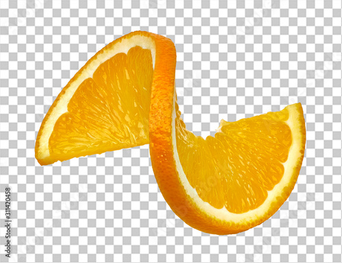 Stampa su Tela Twisted orange slice on checkered background including clipping path