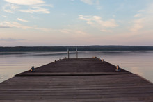 Old Wooden Pier At Sunset