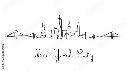One line style New York City skyline. Simple modern minimaistic style vector.