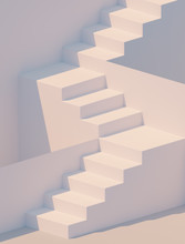 White Stairs 3d Rendering. Staircase Minimal Background.