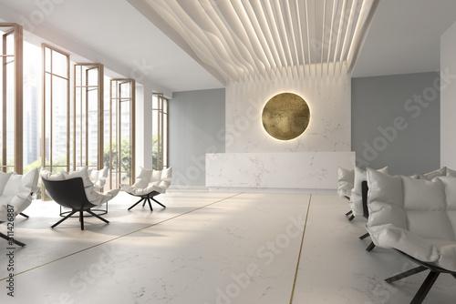 Fototapeta Interior of hotel and spa reception 3D illustration obraz