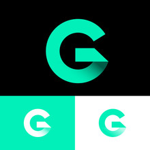 G Origami Monogram. Green Ribbons Like Letter G Initial. Network Icon. Typography. Lettering Design.