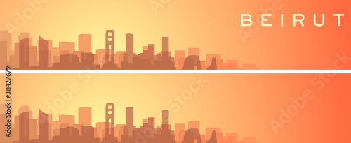 Fotografia  Beirut Beautiful Skyline Scenery Banner