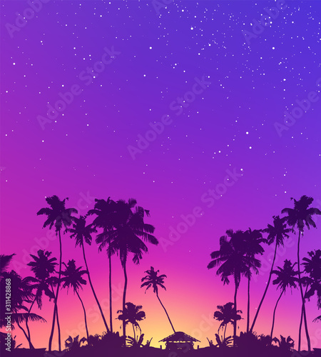 Violet starry sky and palm trees dark silhouettes vector tropic sunset background Wall mural