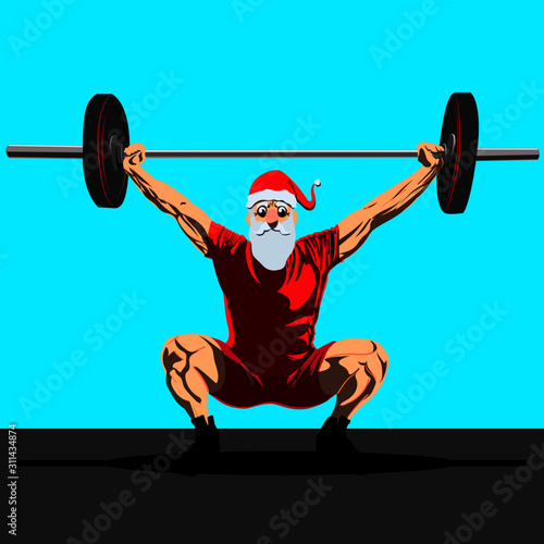 santa claus crossfit navideño Wallpaper Mural