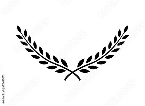 Fototapeta Laurel wreath vector award branch victory icon. Winner laurel wreath vintage leaf emblem obraz