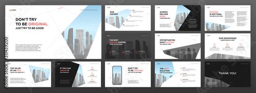 Fototapeta Powerpoint presentation templates set for construction. Use for modern keynote presentation brochure design, website slider, landing page, annual report, company profile, social media banners. obraz
