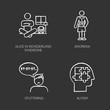 Mental disorder chalk icons set. Alice in wonderland syndrome. Anorexia. Eating disorder. Underweight body. Stuttering. Speech disorder. Repetition. Autism. Isolated vector chalkboard illustrations